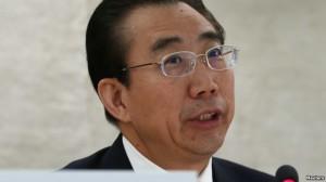 Wu Hailong, enviado especial del ministerio de Exteriores de China, se dirige al Consejo de Derechos Humanos durante el Examen Periódico Universal de las Naciones Unidas en Ginebra, ayer 22 de octubre.