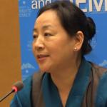 La Ministra del Departamento de Información y Relaciones Internacionales brinda un discurso en la sesión inaugural de la 7 ª Cumbre de Ginebra