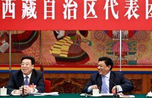 """Wu Yingjie, el secretario del Partido Comunista de la """"Región Autónoma del Tíbet '(izquierda)"""